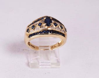 14K Yellow Gold Sapphire and Diamond Chip Ring , size 9