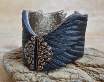 Black bracelet Black jewelry Gothic jewelry Wing bracelet Gothic bracelet Wing jewelry Raven jewelry Raven bracelet Feather jewelry