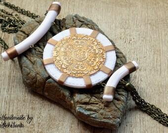 Boho pendant Boho necklace Boho jewelry White necklace pendant White jewelry Statement pendant Statement necklace jewelry Gift for her