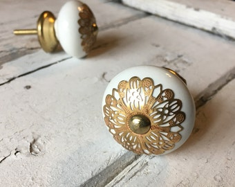 White Ceramic Tomato Knob With gold Apron, Upgrade Ceramic Drawer Pulls, Cabinet Supplies, Item #476246668