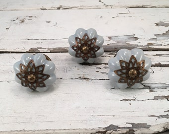 Knobs, Decorative Pumpkin Pull Knob With Bronze Apron, Furniture Upgrade Ceramic Drawer Pulls, Item #488757963