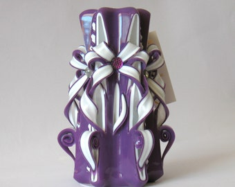 Сarved candle  lilac white  candles perfect gift  unique candles  gift mom  purple candles  flowers candle beautiful candles
