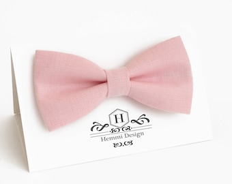 Blush Pink Linen Bow Tie For Wedding / Festival, Party pink bow tie | Bow Tie For Groomsmen, Boy's, Toddler's Baby's Blush Pink Bow Tie
