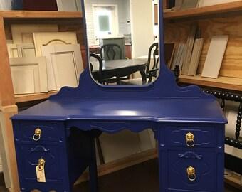 Deep Blue Vintage Vanity w/ Mirror