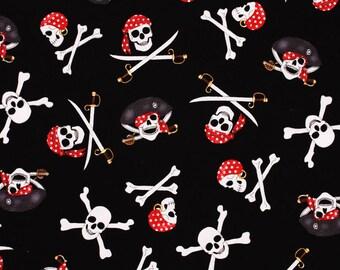 Pirates Skulls printed Fabric by Hi Fashion Fabrics by the Half Yard