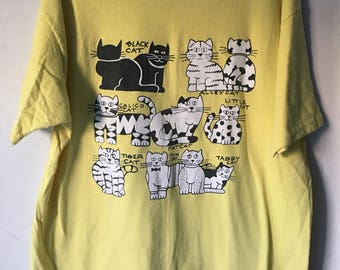 Vintage 1980s Funny Cat T shirt XL