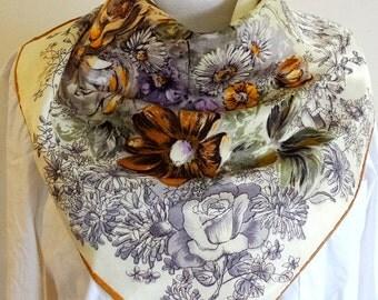 RARE  silk scarf floral 1950s women's neck scarf head scarf neckerchief square women's scarf foulard vintage