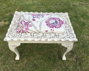 Hand Painted Carved Reupholstered Footstool