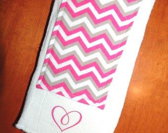 Pink Chevron Burp Cloth with Heart