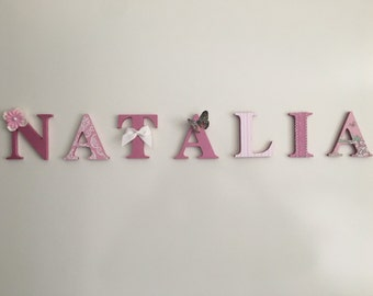 Wooden Letter Names - Dusty Pink