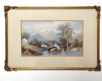 Mountain Scene - watercolour by Thomas Charles Leeson Rowbotham RI
