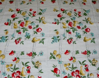 """Beautiful Vintage Fruit and Floral Tablecloth with Red Tatted Edging 51.25"""" X 63"""""""
