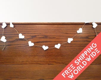 Hearts Hanging Garland Wall Decor Guirland Wedding, Nursery & Valentine Banner