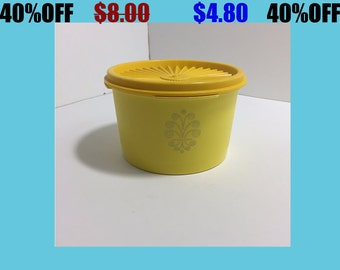 Vintage Tupperware Container With Lid Yellow Made In Canada