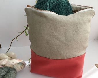 CORAL (large) - Knitting project bag / Zipper project bag / Zipper pouch / Project bag / Project bag for knitting