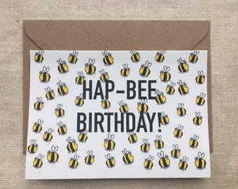 Hap-Bee bees Birthday card
