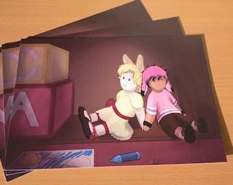 A5 Bubblegum and Marzipan Teddy Print comic book original character digital artwork