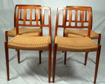 Niels Moller 4 Mid Century Danish modern teak dining chairs, Model No. 83
