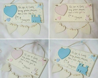 Personalised baby announcement plaque. Gift/ keepsake/ nursery decor