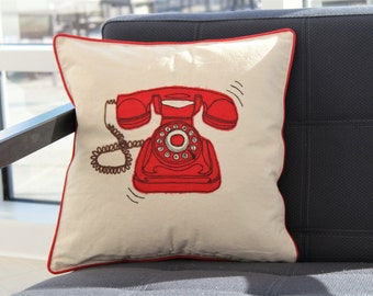 SALE 30% OFF | Retro Telephone Cushion Cover - Ivory Cotton Throwpillow - Decorative Pillow Cover - Embroidered Pillow - Designer Pillow