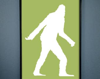 DIGITAL DOWNLOAD Sasquatch Art Print. Lime Green, Silhouette Bigfoot Poster - Perfect for the Northwest Native in Your Life!