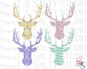 patterned deer heads digital file