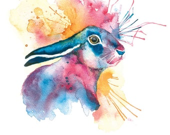 Hare Art Print Hare Illustration, Hare, Hare Print, Hare Wall Art, Watercolour Hare Print Digital Hare Print , Hare Painting Print, Hare Art