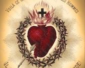 Antique Sacred Heart Art Print, Altered Art Sacred Heart Of Jesus Christ, Religious Art, Gothic Heart Art Print