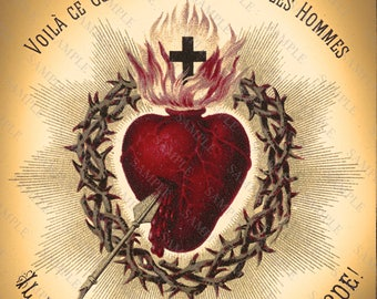 Antique Sacred Heart Art Print, Altered Art Sacred Heart Of Jesus Christ, Religious Art, Gothic Heart Art Print
