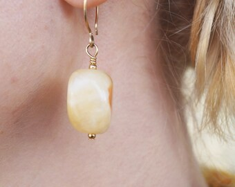 White onyx earrings - Natural semiprecious stone jewelry - large onyx earrings - onyx Gold Plated earrings- gift for her- Vintage Earrings