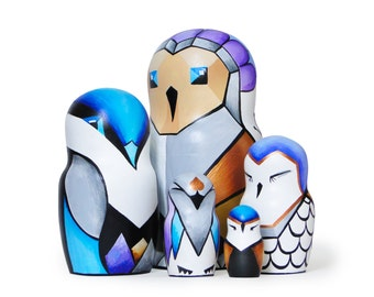 "Techno Owls, Nesting Dolls, 6,9"", 5 pcs"