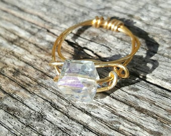 Gold crystal statement ring size 6.5