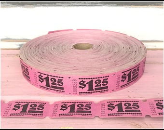 Pink Carnival Raffle Tickets  - (20) Vintage Money Tickets - Pink Raffle Carnival Party Tickets