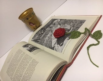 Beauty and the Beast Belle's Enchanted Rose Inspired Crochet Bookmark