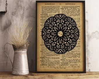 Mandala decor spiritual print, Floral mandala print, meditation wall art yoga studio decor (MA44)