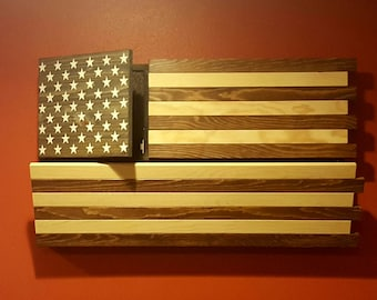 Rustic American Flag Gun Concealment Cabinet, DUAL LOCKING DOORS! Functional Stained Patriotic Art!