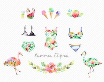 watercolor flower clipart. swinsuit clipart. flamingo Clipart. Tropical clip art. summer clipart. beach party clipart. bikinis clipart.