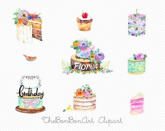 watercolor clipart. watercolor cake clipart. floral cake clipart. party clipart. bakery clipart. Wedding Cake Clipart. birthday cake clipart