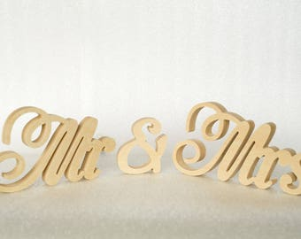 MR and MRS Sign, Free Standing Wedding Table Signs, Mr&Mrs Wooden Letters, Table Centerpiece Decor or Chair Signs Wedding Decor
