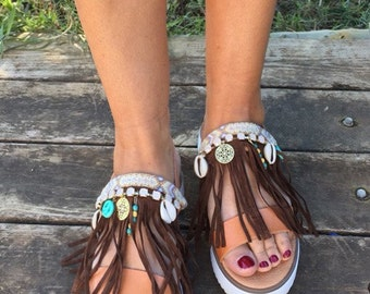 Bohemian Sandals ''Danae'', Strappy Sandals, Greek Sandals, Platforms