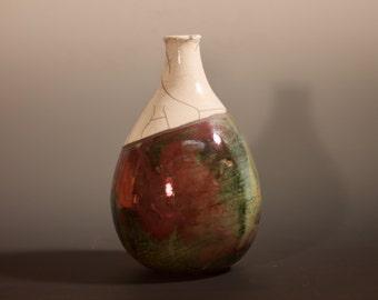 Handmade Raku Fired Ceramic Vase, Medium