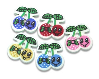 10 cherry shaped buttons