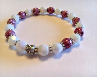 Purple and White Iridescent Crystal Bracelet