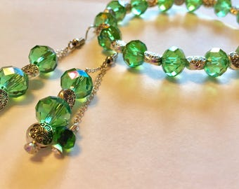 Green Crystal Bracelet and Earrings Set