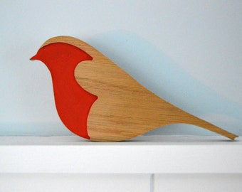 Robin Red Breast, Christmas Decoration, Wooden Bird, Upcycled Decoration, Upcycled Gift,