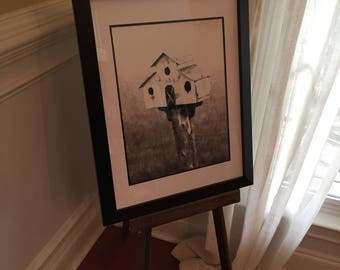 Framed print farmhouse style black and white barn birdhouse 11 X 14 matted photo