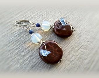 Ceramic earrings Mixed Media jewelry Boho drop earrings Ceramic gemstone earrings Moonstone Boho beach earrings Blue Brown jewelry