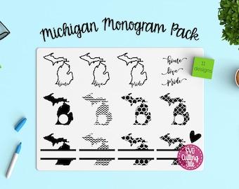 11 Michigan SVG - Michigan State SVG - Michigan Monogram Frames - Michigan Pride - Michigan Love