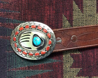 Wilber Muskett Jr, Bear Paw Turquoise & Coral Buckle