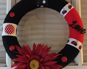 Lucky Lady Bug Wreath / Red/White/ Black